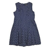 Liz Claiborne Sleeveless Box Pleat Skirt Dress Sz 18 Navy Blue White Polka Dot