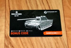 World of Tanks Bonus Code Card Pz.Kpfw B2 740 (f) Gamescom 2017 Xbox One 360 PS4