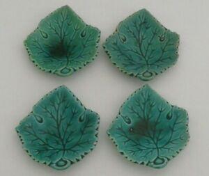 """Antique Majolica Green Cabbage Leaf  Butter Pat / Trinket Dish 3""""  Set of 4"""