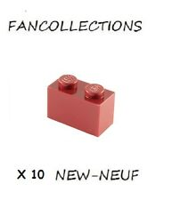 LEGO x 10 - Dark Red Brick 1x2 - 3004 NEUF