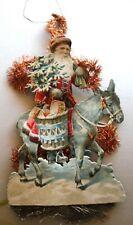 Antique Victorian Vintage Die-Cut Christmas Ornament w/ Santa On Donkey  *
