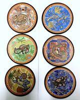 6pc Australia Souvenir Round Wood Coaster Set OZ Aboriginal Designs Gift w Box