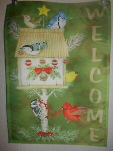 """Welcome Holiday Birds  Garden Flag  12"""" X 18""""  %"""