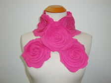 100% Cashmere Muffler Scarf Rose Pink Baby Chic Wrap Neck Warmer Floral Shabby