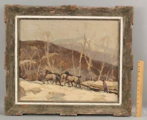 Antique HOBART NICHOLS American Impressionist Winter Landscape Work Horses 1944