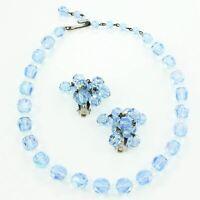 VINTAGE Light Blue Aurora Borealis Glass Bead Choker Necklace Cha Cha Earrings