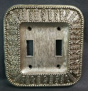 AMER. TACK & HDWE. CO. 1968 RARE Switch Plate Cover 2 Gang Brass Gold Color