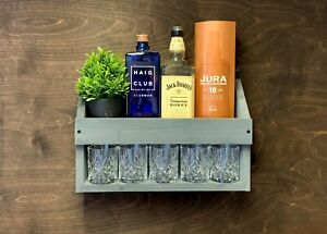Wooden Rum Whiskey Whisky Drinks Shelf Home Bar Personalised Slate Grey (W-GR)EM