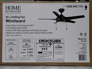 Home Decorators Collection Windward 44 in. LED Oil Rubbed Bronze Ceiling Fan