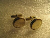 Pioneer Vintage 1960's Gold Silver Two Tone Round Groovy Cufflinks Cuff Links
