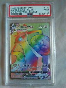 AEGISLASH VMAX 190/185 PSA 9  POKEMON VIVID VOLTAGE RAINBOW RARE FULL ART CARD