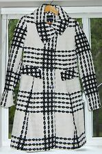Express Women's Wool Coat Size Large, Black, White, Hounds Tooth, Flare Style