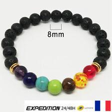 Bracelet Bijoux Femme Homme perle 7 Chakra Pierre Nature Guérison Thérapie V1