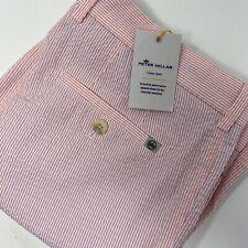 Peter Millar Crown Sport Featherweight Men's Pink Striped Golf Shorts New $98