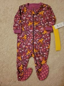 NEW Disney Store BAMBI Long Sleeve Pajamas PJs Baby 0-3 Month Sleeper 3 Footed