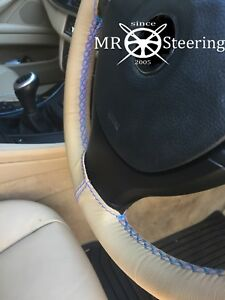 FOR HINO PROFIA 700 BEIGE LEATHER STEERING WHEEL COVER LIGHT BLUE DOUBLE STITCH