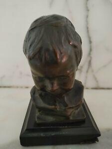 Bernardo Balestrieri Bronze Child Head Bust on Base - Artist Signed