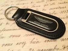 ASTON MARTIN BLACK Real Leather Keyring  Printed resin coated DB7 8 9 11 VANTAGE