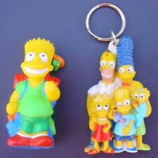 Vintage 1990 Bart Simpson Camping Figure & Simpsons Family Key Ring KeyChain Lot