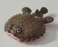 "ANIMAL FIGURE SEA LIFE SPIKY PUFFER FISH 2.75"" FALSE EYE-SPOTS BROWN SILVER"
