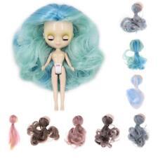 Gradiente de Largo Pelo rizado muñecas Peluca Cabeza Cuero Cabelludo Shell Kit Para Petite Blythe Pullip