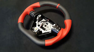 Steering Wheel Mazda Rx8 Flat Bottom extra THICK red leather
