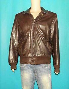 blouson SCHOTT 184SM vintage en cuir marron avec doublure taille 46 us ou