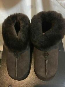 NWT Eddie Bauer Women's Shearling Boot Slippers Chestnut/Natural/Dk Brown