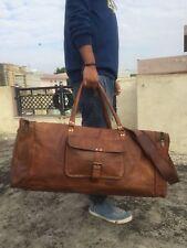 "28"" Men's genuine vintag Leather large duffle travel gym weekend overnight bag"