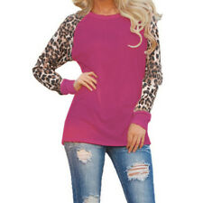 Women Leopard Plus Size Blouse Tops Long Sleeve Casual Loose T-Shirt Pullover US