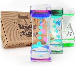 3 Piece Liquid Motion Timers Bubbler for Fun Relaxation Kids Sensory Fidget Toys
