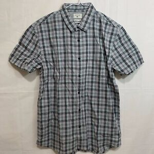 Quiksilver Mens NWT Everyday Check Short Sleeve Button Down Shirt Grey or Blue