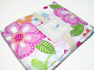 Pottery Barn Kids Multi Color Floral Hibiscus Flower Cotton Twin Duvet Cover New