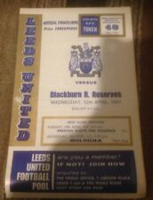 Leeds United V Blackburn Rovers  Reserves - Central League - 13/4/1967