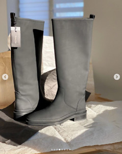 MASSIMO DUTTI (ZARA GROUP) BLACK LEATHER WELLIES BOOTS REF. 1004/650