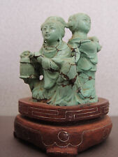 Chinese Turquoise Carving Deities Wood Stand