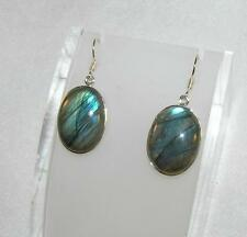 Labradorite Flashy Medium Oval Earrings 925 Sterling Silver