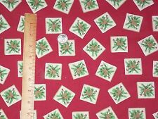 Patchwork Christmas Squares Red Background Signature Classics Cotton Fabric BTY