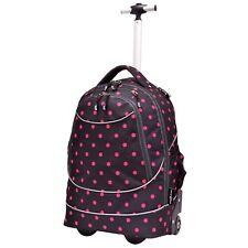 """Horizon 20"""" Carry-on Black Pink Dots Dual Wheeled Shoulder Laptop Backpack Bag"""