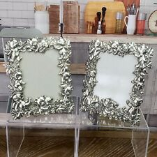 """1996 Arthur Court Signed Pewter Picture Frame Teddy Bears 4.75""""x6"""" Set of 2"""