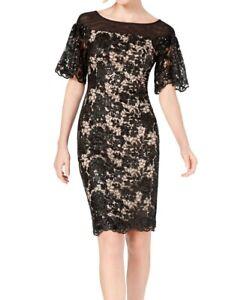 Calvin Klein Womens Dress Black Size 6 Sheath Sequined Mesh-Panel $199 314