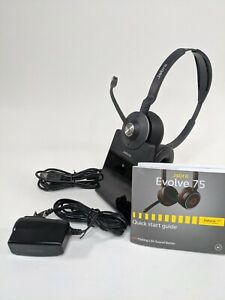 Jabra Evolve 75 WirelessHeadsets Bluetooth Noise Cancelling with Base Charger
