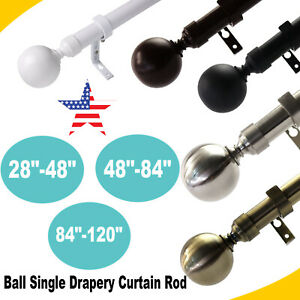"1"" Diameter Steel Ball Single Drapery Curtain Rod 28""-48""/ 48""-84""/84""-120"" US"