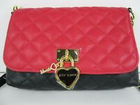 Betsey Johnson $78 NWT Black & Red Quilted Cross Body White Shoulder Bow