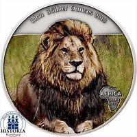 2013 - LION - 3 Silver Ounces Gabon 2000 Francs Antique Finish coloured