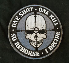 ONE SHOT ONE KILL SKULL EMROIDERED  3.5 INCH TACTICAL HOOK PATCH