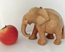 Chunky wooden elephant ornament vintage wild animal figurine carved wood 4.5""