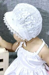 BABY GIRLS- IVORY CHRISTENING-BONNET SUNHAT- EMBROIDERED LACE-DIAMANTES
