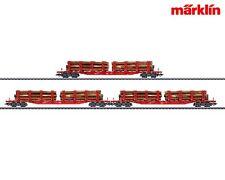 Märklin 47144 Rungenwagen-Set Snps 719 (DB-AG) mit Holzladung
