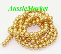 50 x glass beads champagne gold yellow imitation pearl loose spacer 8mm jewelry
